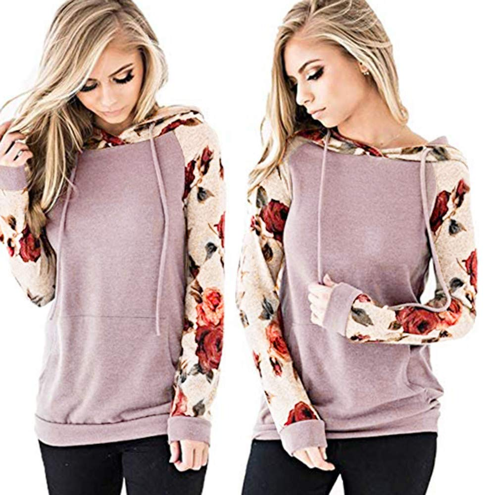 Rambling Women's Casual Long Sleeve Raglan Casual Floral Print Drawstring Pullover Top Blouse with Kangaroo Pocket by Rambling (Image #4)