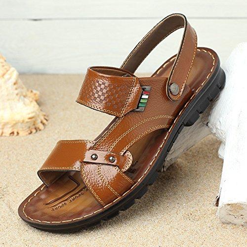estate vera pelle sandali traspirante Tempo libero Spiaggia scarpa sandali Uomini Tempo libero scarpa ,giallo,US=8,UK=7.5,EU=41 1/3,CN=42