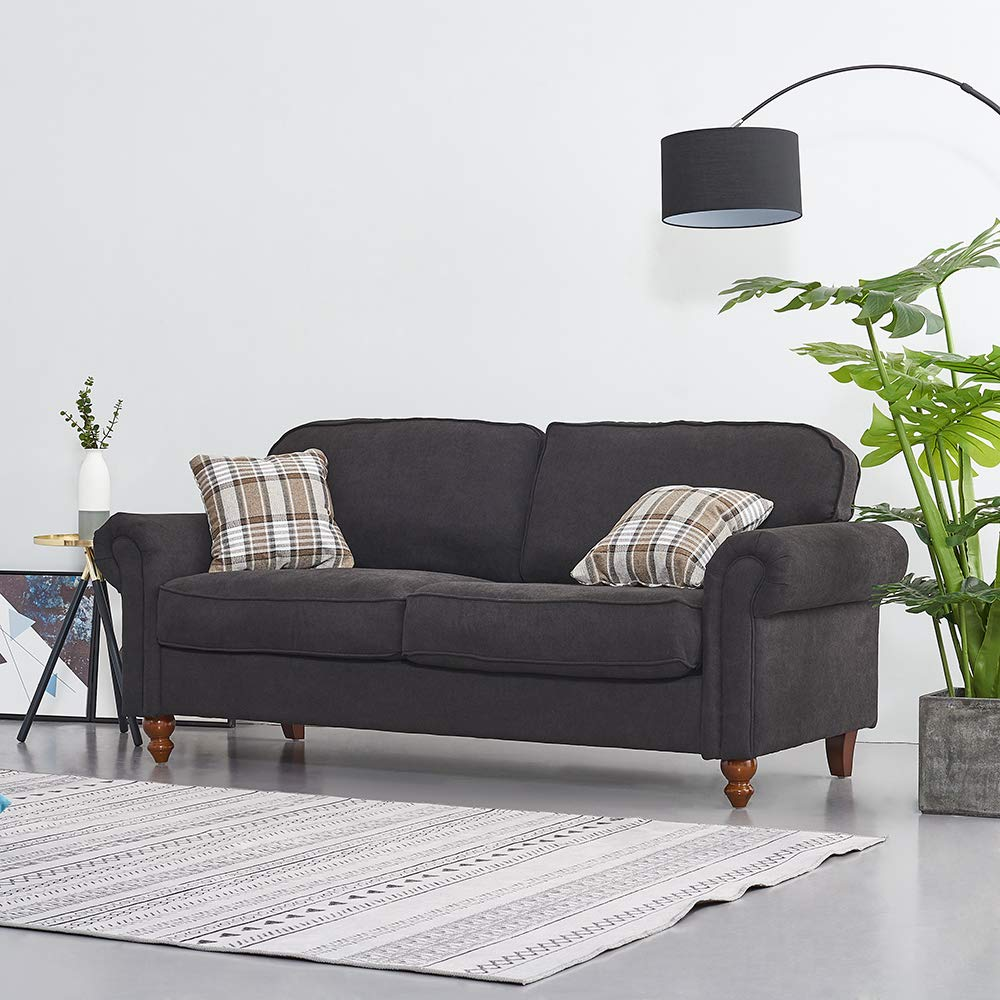 Wellgarden 3 Seater Fabric Sofa Couch Settee Living Room Sofa with Retro  Design Leg, Black