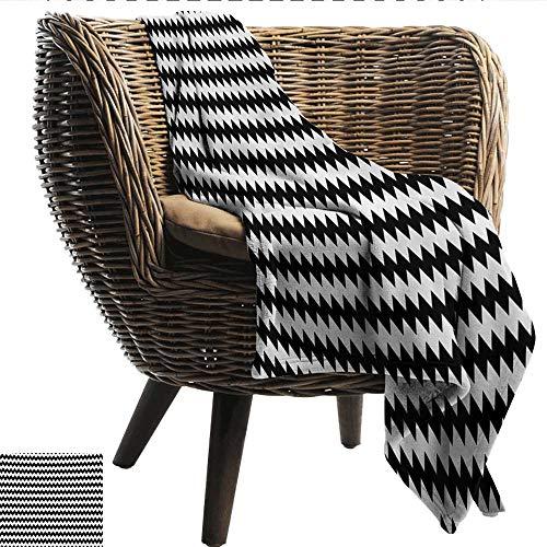 (EwaskyOnline Chevron Blanket Zig Zags in Black and White Sharp Arrow Inspired Classic Retro Tile Monochrome Sofa Warm Bed 91