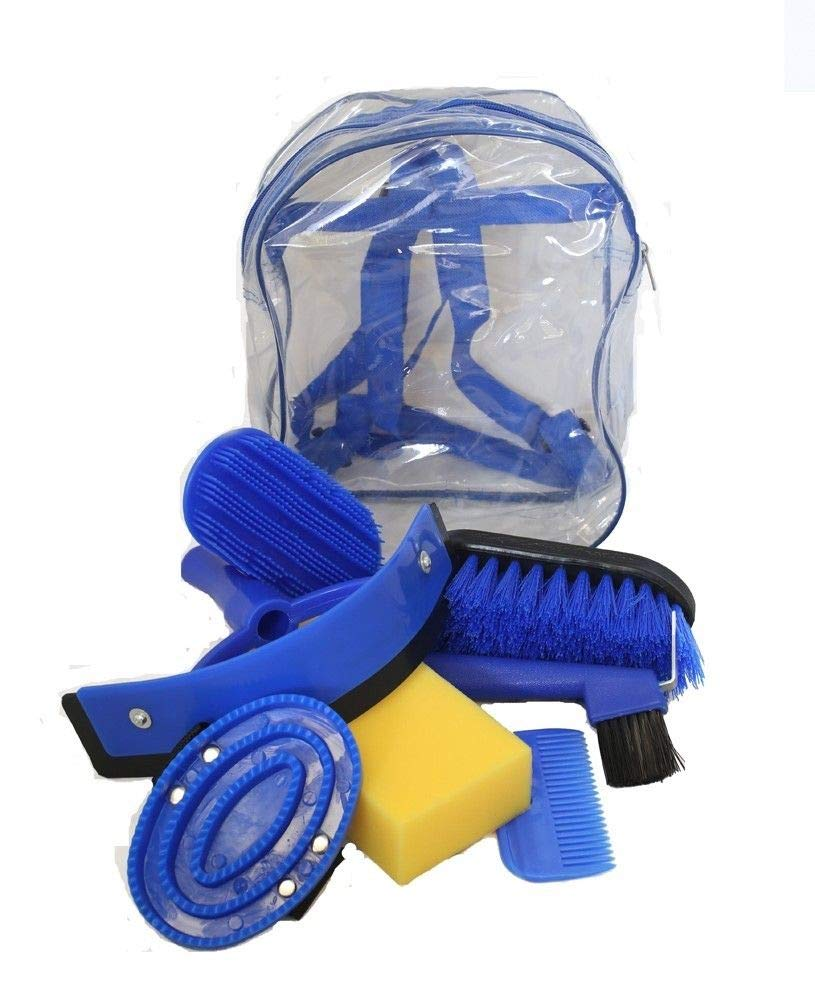 AJ Tack Wholesale Horse Grooming Kit 8 Piece Set for Children Brushes Sweat Scraper Rubber Massage Curry Mane and Tail Comb Hoof Pick Sponge Clear Back Pack Blue by AJ Tack Wholesale
