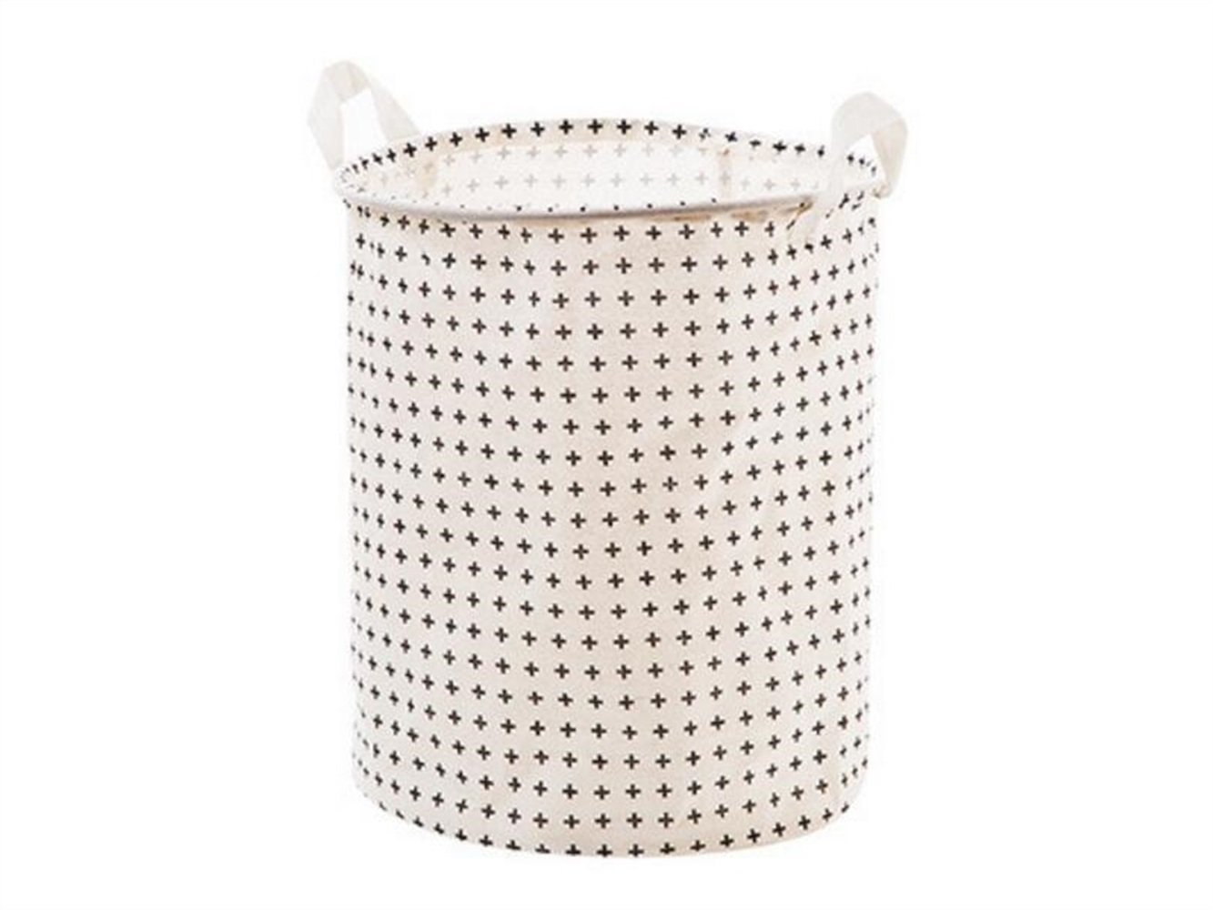 Gelaiken Lightweight Plus Pattern Tote Storage Basket Waterproof Storage Bucket Cotton and Linen Storage Box (White)