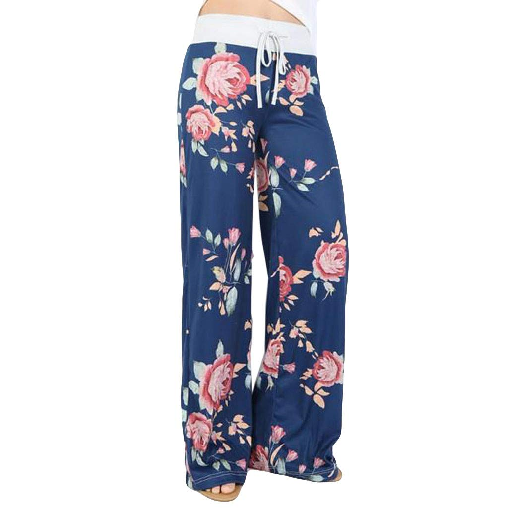 Elogoog Fashion Womens Comfy Casual Pajama Pants Floral Print Drawstring Palazzo Lounge Pants