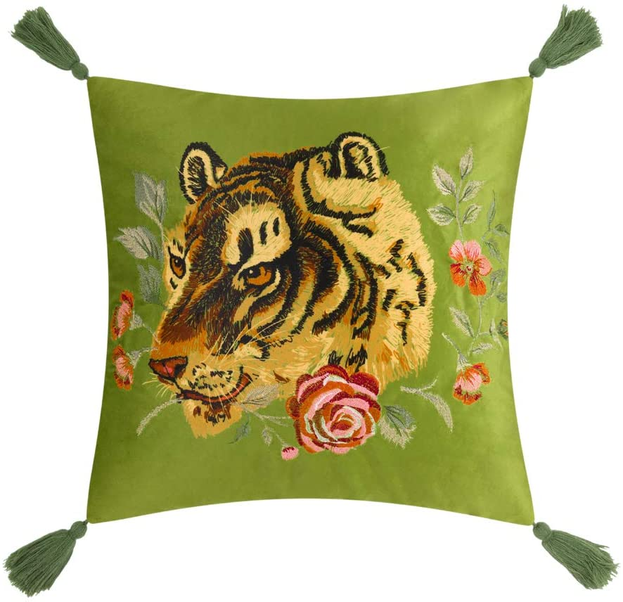 Jwh Tassel Accent Pillow Case Tiger Flower Print Cushion Cover Decorative Pillowcase Home Bed Living Room Shell Gift 18 X 18 Inch Green Home Kitchen