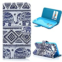 Google Nexus 5X Wallet Case - Mavis's Diary® Premium Leather with Card Holders Magnetic Clip Flip Cover Stand Case for LG Google Nexus 5X 2015 (NOT for Nexus 5 2013) (Blue Tribal Elephant)