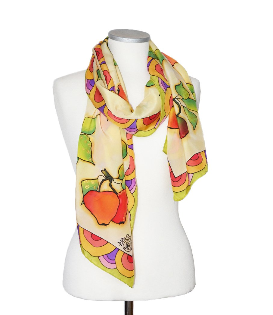 Womens Silk Scarf Hand Painted Pastel Yellow Colorful Apples Shawl For Her One Of A Kind