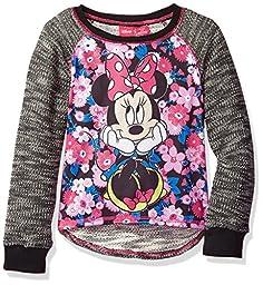 Disney Big Girls\' Minnie Mouse Long-Sleeve Pullover, Black, 7/8