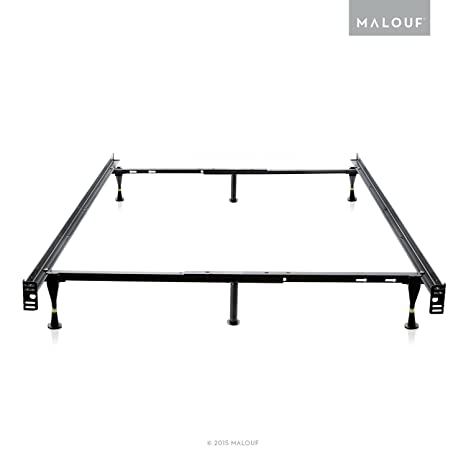 MALOUF STRUCTURES Heavy Duty 6 Leg Adjustable Metal Bed Frame With Glides  Only   (