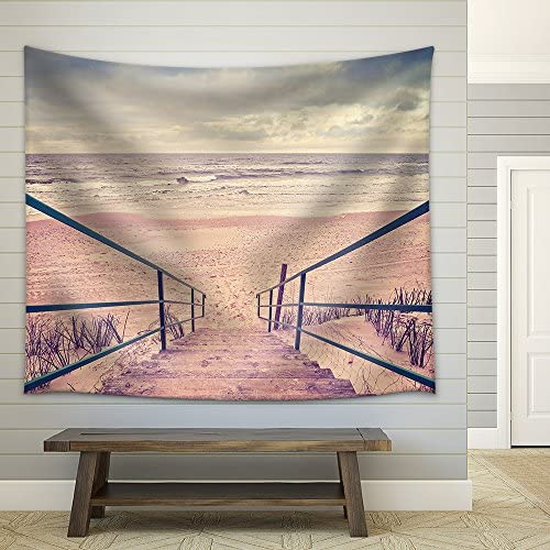 Vintage Toned Wooden Stairs on a Beach Fabric Wall