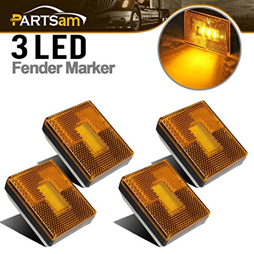 Partsam 4pcs AMBER Square Clearance Side Marker Light Trailer RV w reflex reflector, 2-4/5