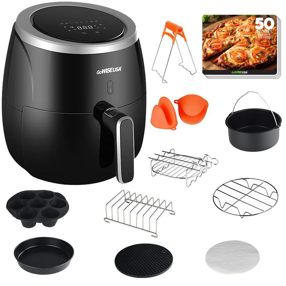 GoWISE USA GWAC981 XL 5.3-Quart Air Fryer with Accessories, 10 Piece, 8 Cooking Presets 50 Recipes Black Premium , Qt