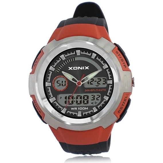 Hombres de relojes/deportes al aire libre, escalada de montaña, resistente al agua de los relojes digitales/LED, estudiante multifuncional Watch-a: ...