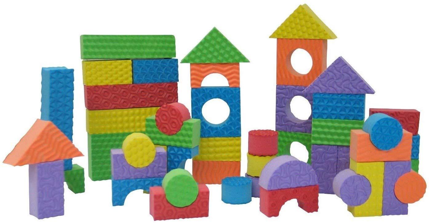 Edushape Brightly Colored Textured Foam Building Blocks, 80 Pieces, Multi-Colored
