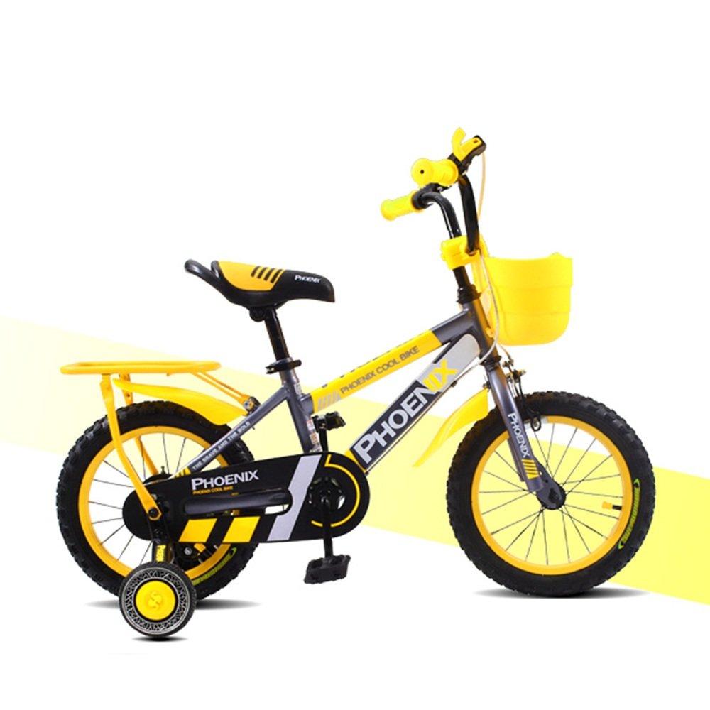 YANGFEI 子ども用自転車 12インチの子供の自転車の男の子の子供の自転車の自転車のおもちゃの自転車オレンジのトレーニングホイールのフェンダー 212歳  Yellow -12 inch B07DX36HNB
