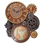 ChachaIn Steampunk Industrial Multi Gear Globe Mechanically Inclined Large Wall Clock 6