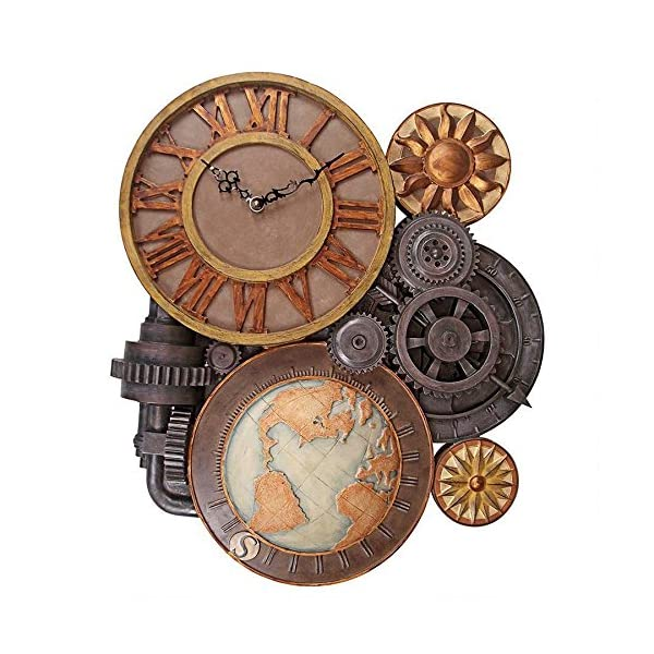 ChachaIn Steampunk Industrial Multi Gear Globe Mechanically Inclined Large Wall Clock 3