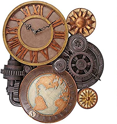 ChachaIn Steampunk Industrial Multi Gear Globe Mechanically Inclined Large Wall Clock