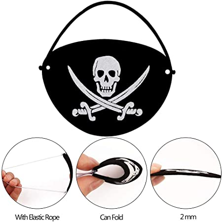 15 x Bandeau pirate noir blanc avec bande élastique Enfants Fête D/'Anniversaire