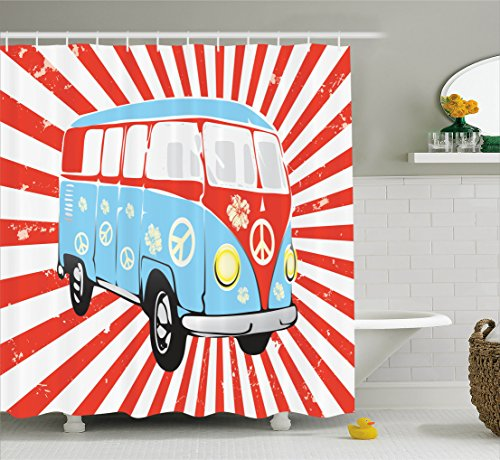 Ambesonne 1960s Decorations Collection, Retro Van on Striped Background Dated Old Fashion Oldtimer Transportation Vacation Image, Polyester Fabric Bathroom Shower Curtain Set with Hooks, Red (60s Background)