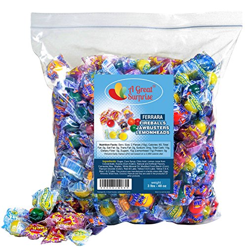 Jawbreakers Sour - Atomic Fireballs, Jawbreakers, Lemonheads - Assorted Candy - Ferrara Pan Candy Assortment - Bulk Candy 3LB