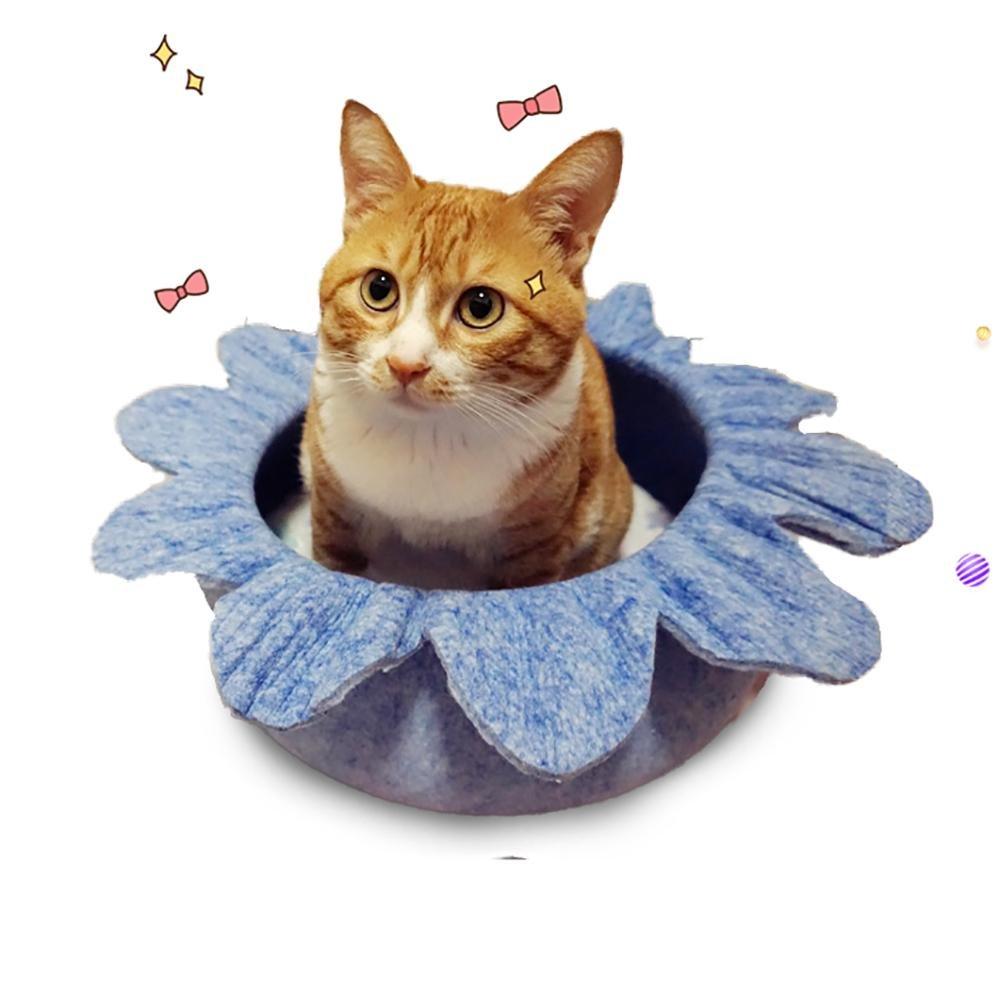 bluee DAN Luxury Handmade Flower-shaped Felt Cat Bed Nest