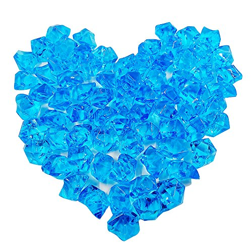 (Bestgle 100Pcs 8.5OZ Aquarium Decoration Ornament Glass Beads Acrylic Crystals Gems Ice Rocks for Table Scatter, Vase Filler, Event, Wedding, Arts, Crafts & Fish Tank Bowl, Blue)