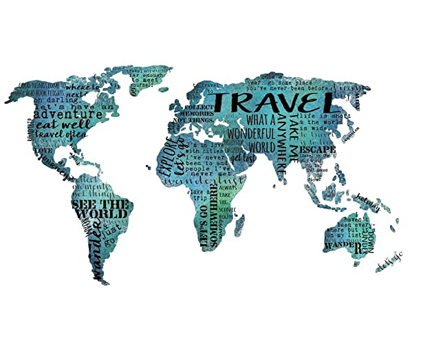 Amazon travel quotes world map wall art quotes typography wall travel quotes world map wall art quotes typography wall art teal wall decor 12x16 inch print gumiabroncs Choice Image