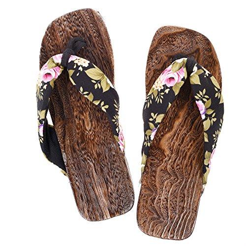KLOUD City Japanese Floral Print Slip-On Flip Flop Geta Clogs Slippers Kimono Yukata (Black)