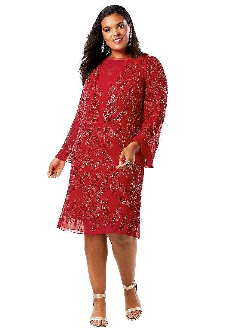 Roamans Women's Plus Size Beaded Dress Bell Sleeves
