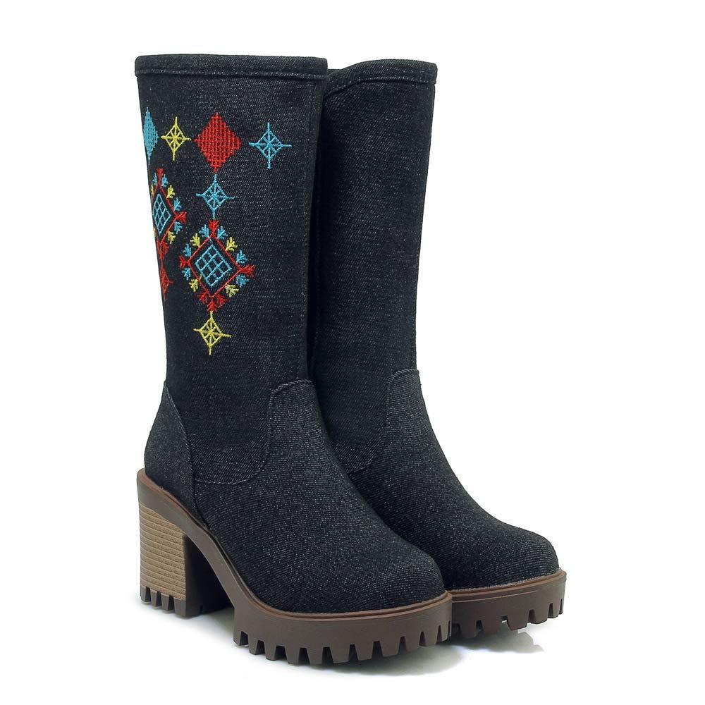 Best 4U Frauen Kniehohe Canvas Denim Stiefel Herbst Winter Stickerei Vintage Style Blaumenmuster 8 cm Heels Zipper Schuhe