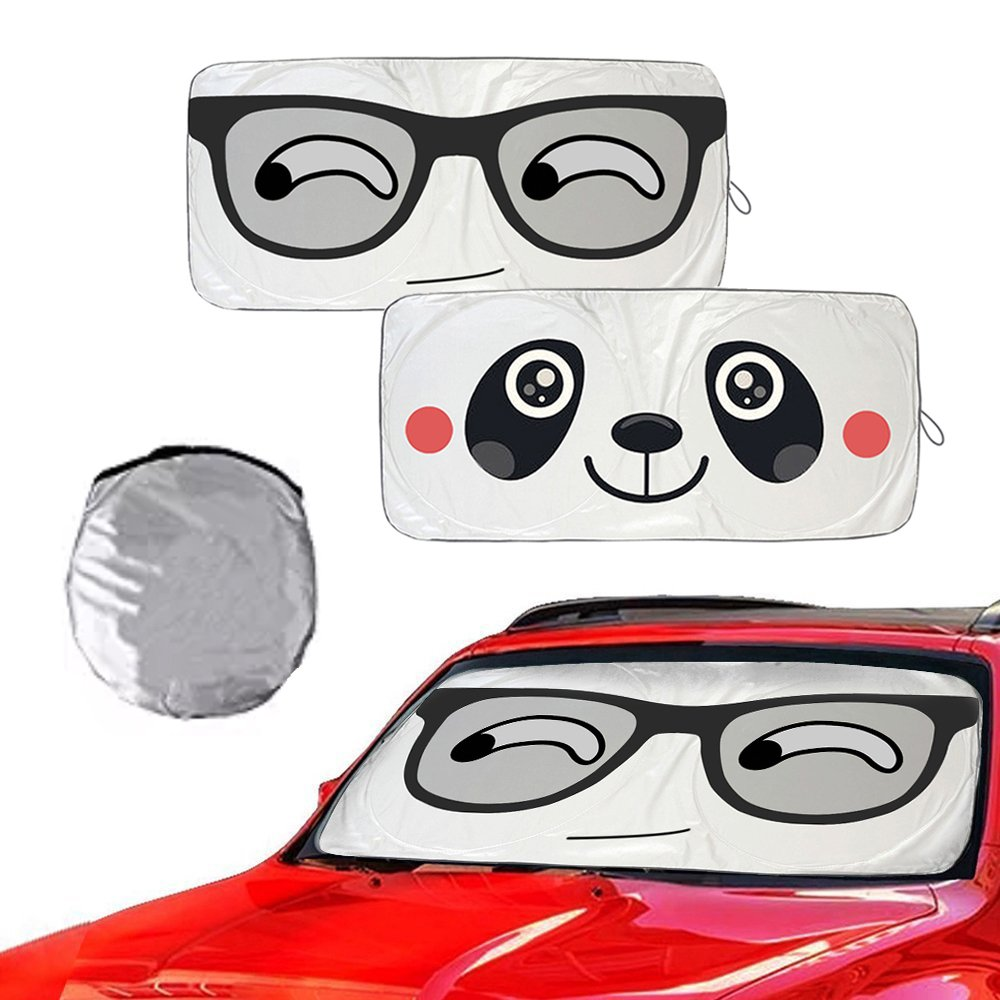 """Car Windshield Sun Shade with Funny Cute Eyes Design for SUV Truck Vans [2 Pack],Metacrafter Cartoon Front Auto Window Screen Visor Pop Up Style Heat Blocker UV Rays Sun Visor Protector Cover(59""""x33"""")"""