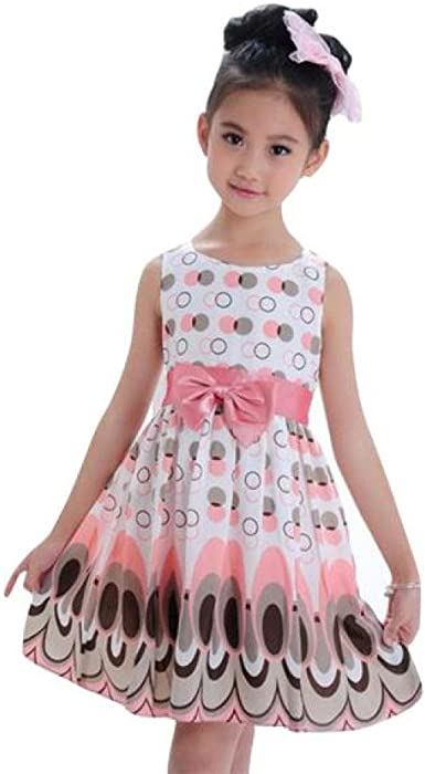 Girls Long Sleeve Stripey Party Dress Age 3 4 5 6 7 Yrs Pink Belt Kids Clothes