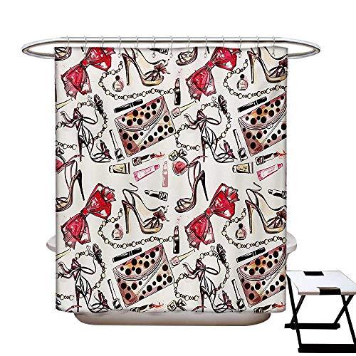 Girls Shower Curtains Sets Bathroom Feminine Shoes Lipstic Perfume Accessory Fancy Items for Beauty Pattern Image Satin Fabric Sets Bathroom W69 x L70 Pink Tan Black
