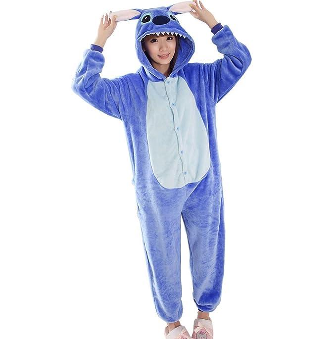 WRH Franela una pieza pijama azul de dibujos animados LILO y puntada cosplay animal invierno coral