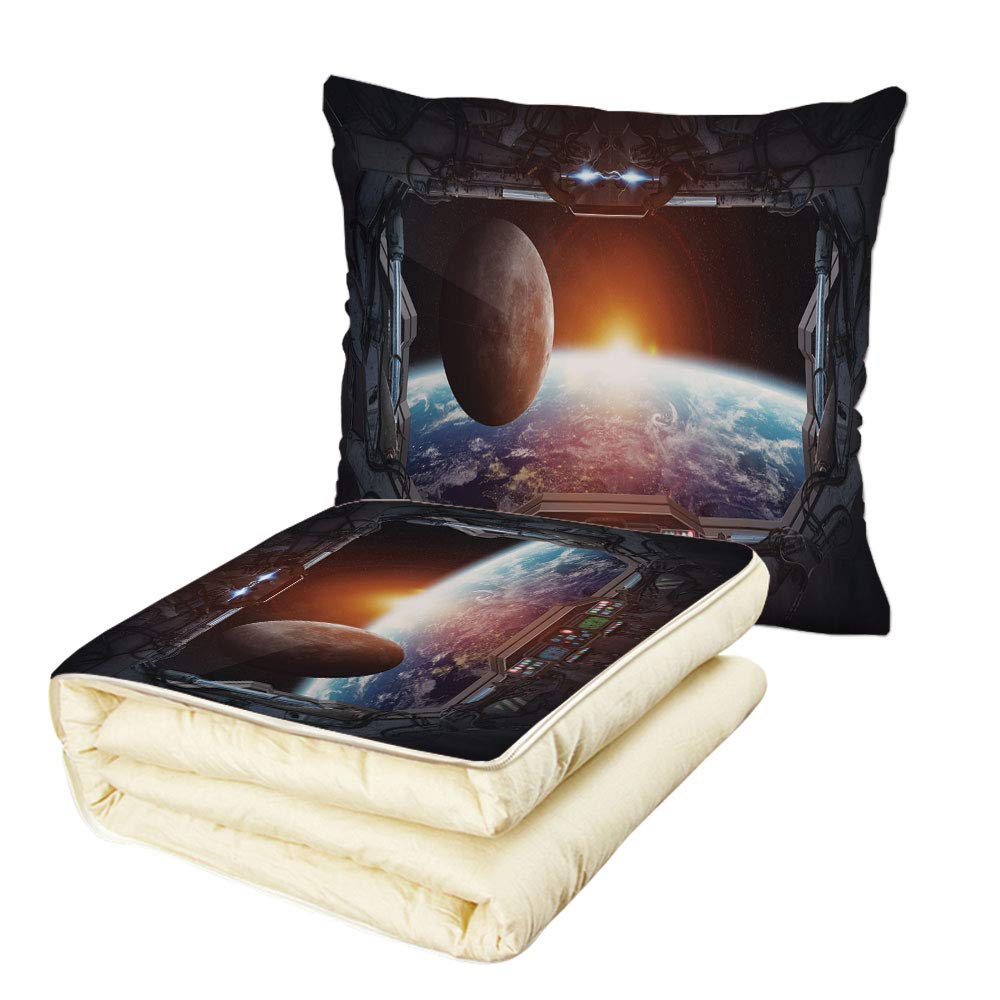 Quilt Dual-Use Pillow War Home Decor Window View from Spaceship Station to Universe Celestial Discovery Fiction Multifunctional Air-Conditioning Quilt Grey Black