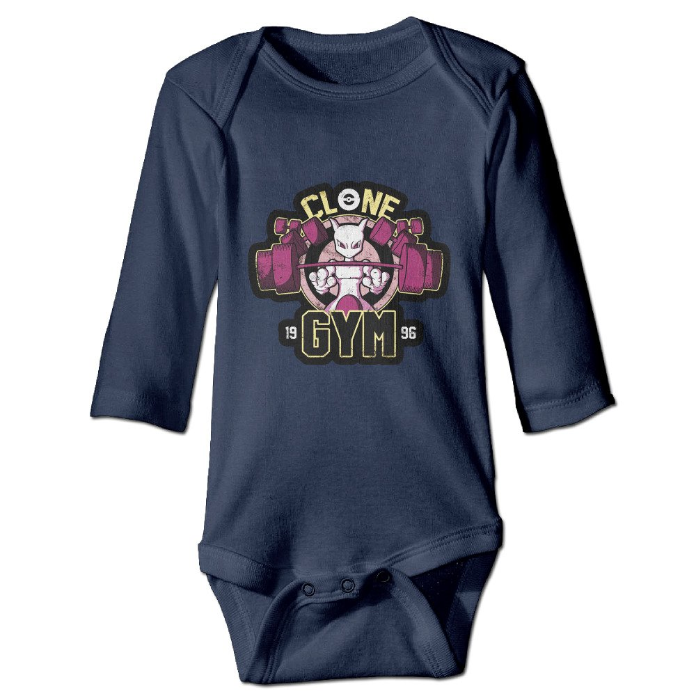 Duola Poke Mewtwo Gym 1996 Long-Sleeve Romper Bodysuit For 6-24 Months Newborn Baby Navy