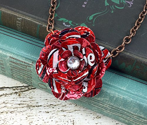 (Pepper Rose Necklace. Recycled Soda Can Art. Dr Pepper)