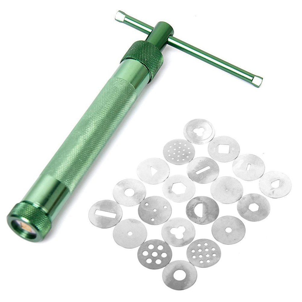 VORCOOL Clay Extruder Clay Gun Tool with 20 Discs (Green)