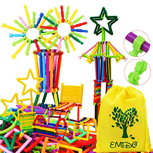 EMIDO 480 Pcs Building Toy Building Blocks Bars Different Shape Educational Construction Engineering Set 3D Puzzle , Interlocking Creative Connecting Kit, A Great STEM Toy for Both Boys and Girls! from EMIDO