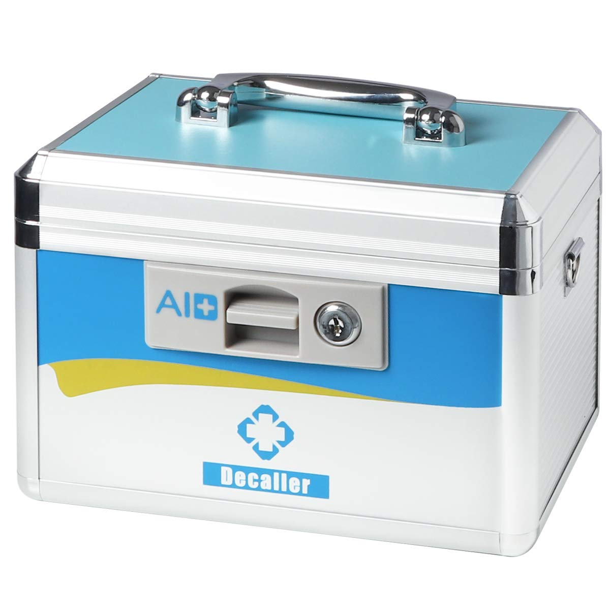 Decaller First Aid Box with Security Lock, Medical Box with Removable Tray for Drugs Storage, 10 1/2'' x 7 3/5'' x 7 3/5'', Small, Blue, YLX002S by Decaller