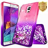 Note 4 Case, Galaxy Note 4 Glitter Case w/[Tempered Glass Screen Protector], NageBee