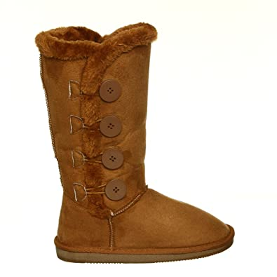 Women's Fur Lined Shearling Warm Mid-Calf Microfiber Winter Boots