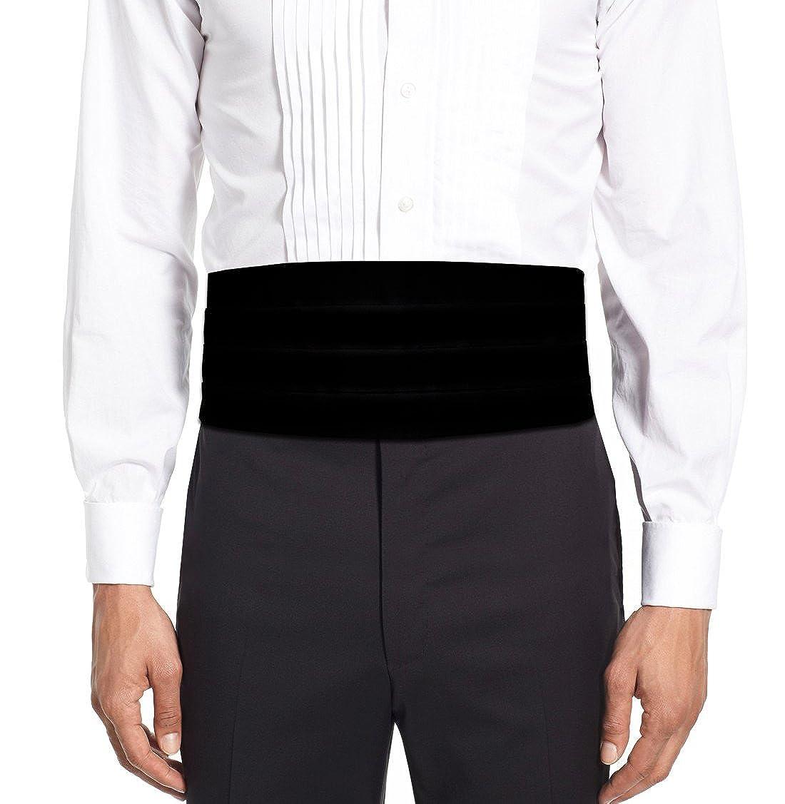 Remo Sartori Made in Italy Men's Black Velvet Cummerbund Tuxedo Belt, Four Folded