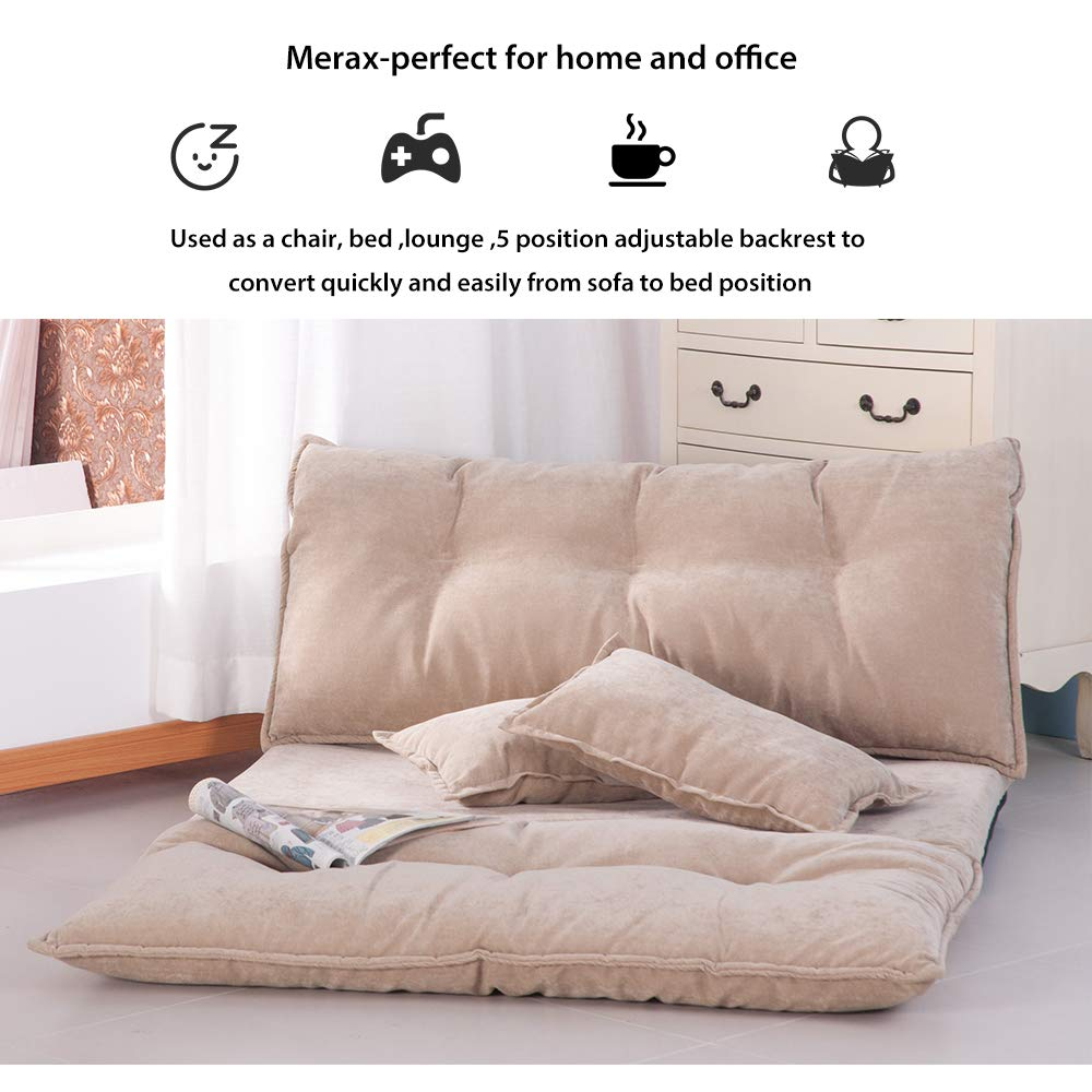 Grey Floor Sofa Adjustable Lazy Sofa Bed Foldable Mattress Futon Couch Bed with 2 Pollows