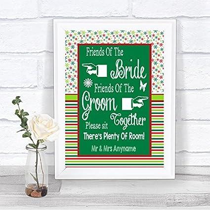 Red & Green - Señal de boda personalizada, diseño navideño ...