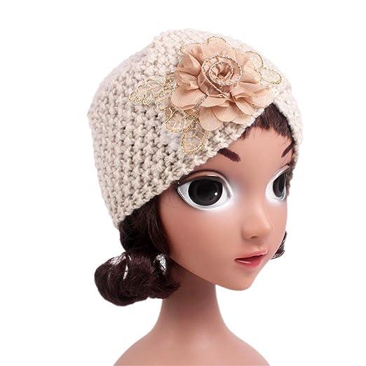 Qhome Girls Knit Beanie Flower Knitted Turban Headbands Kids Cap Handmade  Crochet Hats Children Turbante a83000fdbb8