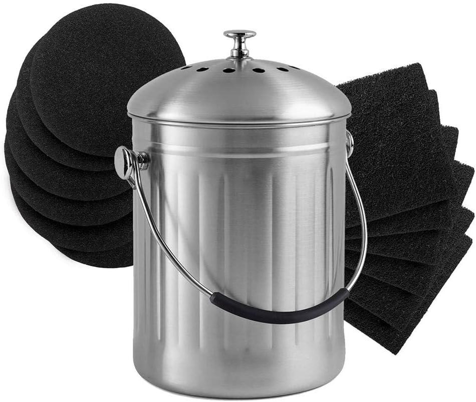 Kit De Mousse /Éponge Pr/éfiltre Compost De Baril De Cuisine Au Lieu De Charbon Activ/é par Filtre Charbon Actif D/éodorant Coton pour Filtre Compost Rond