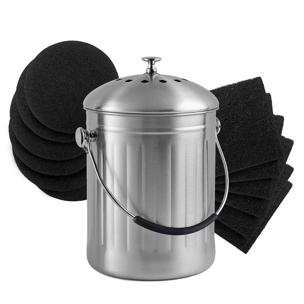 Compuesto de Barril de Cocina Filtro Alternativo de carb/ón Activado 12.1 12.1cm carb/ón Activado Desodorante certainoly Algod/ón de Filtro de Compost Redondo Cuadrado