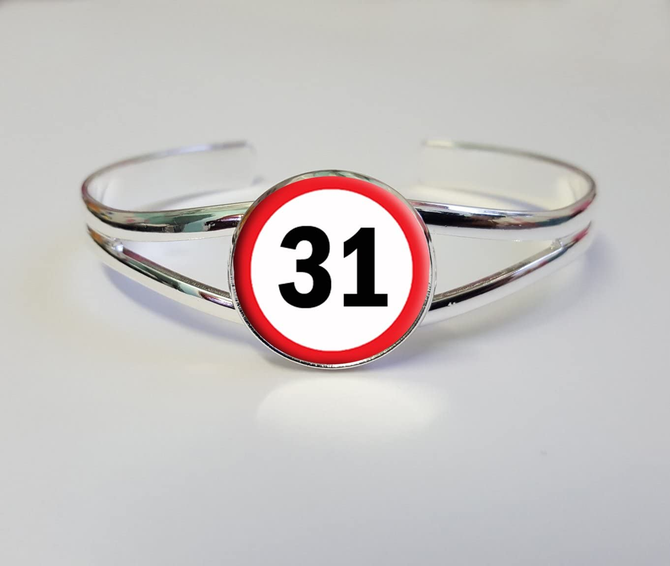 31 Road Sign On A Silver Plated Bracelet Bangle Costume Jewellery Ideal Ladies 31st Birthday Gift L303
