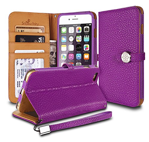 iPhone 6s (4.7) Cases, iPhone 6 (4.7) [Snow Fairy] Flip Cover Case [Premium Genuine Leather Kick Stand Wristlet][Card Holder][Wallet] - [Leather Fit][Wrist Strap] Bull Leather Case Purple